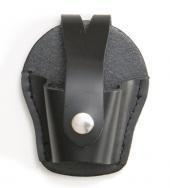 Schwarze Ledertasche für Handschellen Lederetui mit Druckknopfverschluss und Koppelbefestigung in 2 verschiedenen Ausführung (Rund)