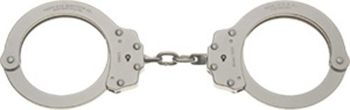 Peerless Handcuff Company, Oversize Chain Link Handcuffs, Nickel Finish