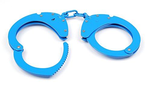 CLEJUSO Handschellen mit Kette, Edelstahl rostfrei, Mod. Nr. 12A blau