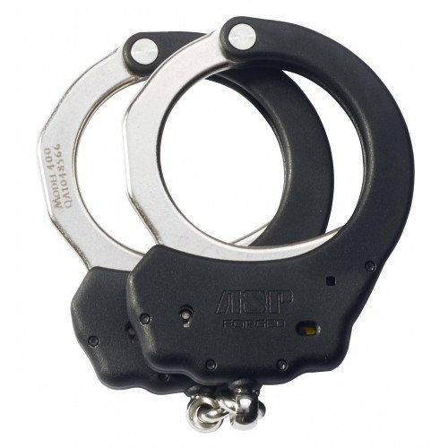ASP Black Chain Ultra Handcuffs (Steel) with Overmolded Frame Design by Asp Law Enforcement