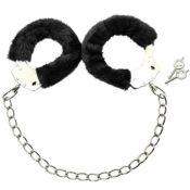 COM-FOUR® Fußfesseln mit Plüsch in schwarz, Fetisch Fessel Handschellen mit Schlüsseln - 1