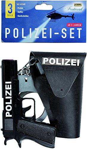 Polizei- Set mit Pistole, Halfter und Handschellen, 3-teilig